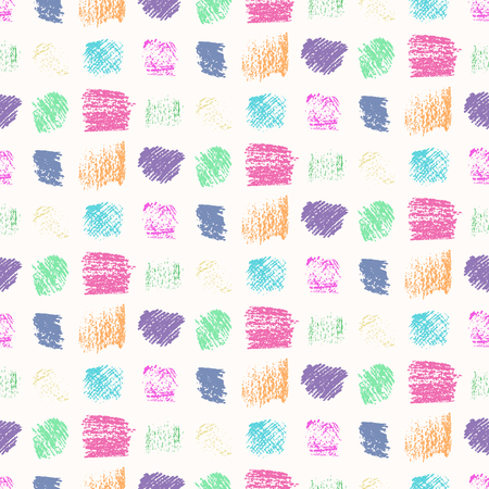 Light pastel colors grunge scratched squares seamless pattern. Fashion bright colors on white scribbled texture for textile, wrapping paper, background, surface, graphic design, wallpaper Illustration