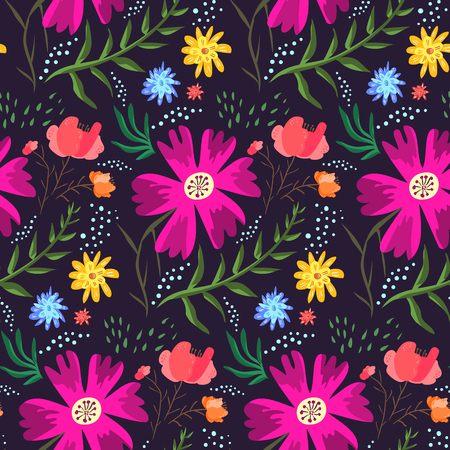 Contrast floral summer seamless pattern of rich colors. Bright cartoon hand drawn texture with pink, blue and orange flowers, leaves, waterdrops for textile, wrapping paper, print design, surface Vectores