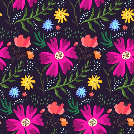 Modèle sans couture d'été floral contrasté de couleurs riches. Texture de dessin animé lumineux dessiné à la main avec des fleurs roses, bleues et orange, feuilles, gouttes d'eau pour textile, papier d'emballage, conception d'impression, surface Vecteurs