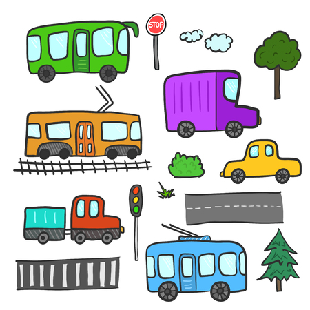 Cute cartoon doodle city transport, trees, roads, traffic lights, stop sign. Bright childish color sketchy linear public transportation, car, truck for children educational or fun app or book Illustration