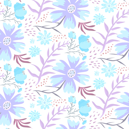 Tender blue and violet hand drawn floral seamless pattern. Gentle light texture with cute flowers, leaves, waterdrops for textile, wrapping paper, print design, wallpaper, surface