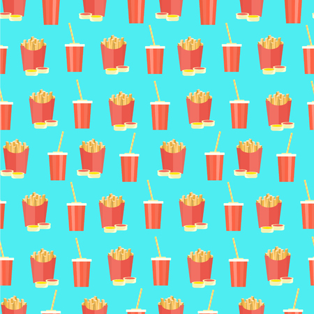 Bright flat seamless pattern with cola plastic glass and french fries on blue background. Cute fast food texture for textile, cafe and bar covers, banners, wrapping paper, wallpaper, menu design
