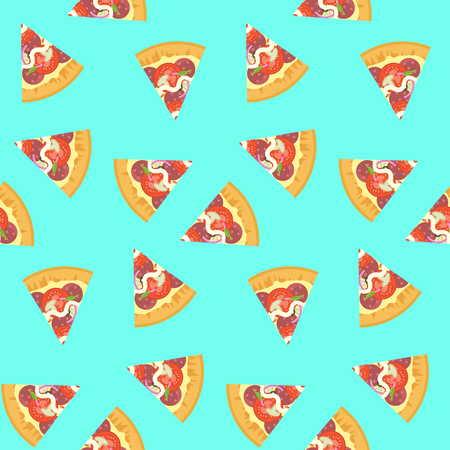 Bright seamless pattern with delicious colorful sliced pizza on blue background. Nice fastfood texture for textile, wallpaper, banner, bar and cafe menu design