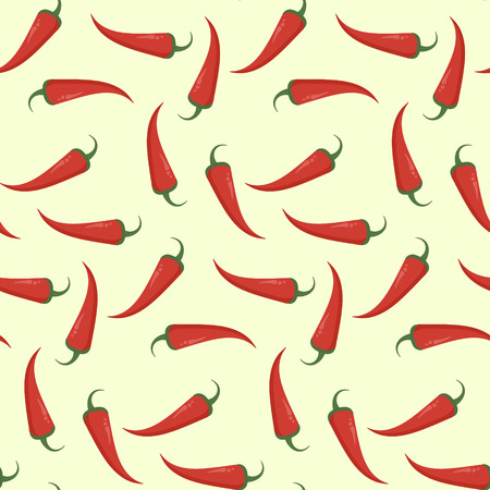 Helles, flaches, nahtloses Muster mit rotem Chili. Würzige heiße mexikanische Textur mit Cayennepfeffer-Chili für Textil, Tapete, Geschenkpapier, Banner, Verpackungsdesign