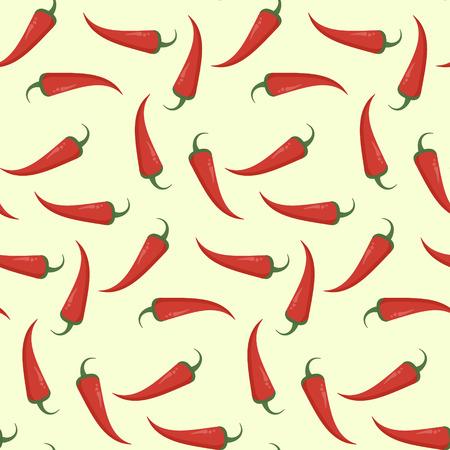 Modèle sans couture plat brillant avec piment rouge. Texture mexicaine chaude épicée avec piment de Cayenne pour textile, papier peint, papier d'emballage, bannière, conception d'emballage