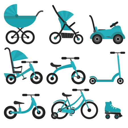 Flat bright blue baby transport set for kids since birth till school. Colorful turquoise vector children transport as stroller, balance bike for package design, stickers, educational apps and books
