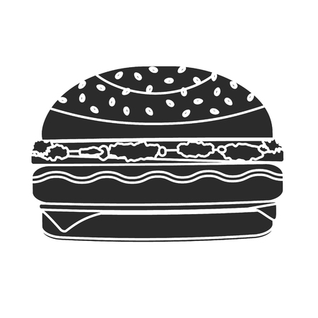 Monochrome black vector humburger symbol made in negative space technique. Minimalistic flat american burger icon for fast food restaurant or cafe menu, advertisement, banners