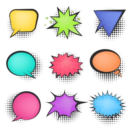 Set of bright mesh color empty retro comic speech bubbles with black halftone shadow in pop art style. Cute message balloons for comics book or advertising text, web design, greeting cards, banners