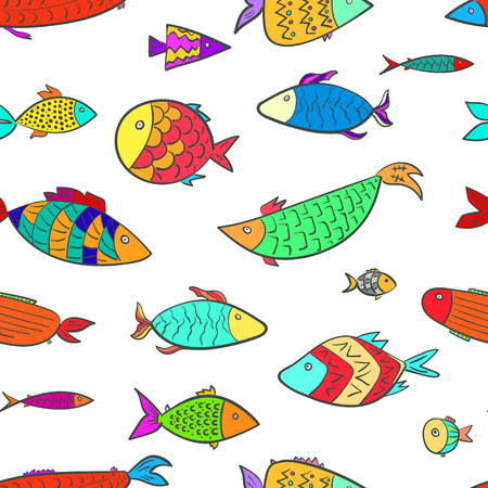 Cute seamless pattern with colorful cartoon decorated fishes. Doodle hand drawn bright aquarium fish texture for kids textile, swimwear, wrapping paper, background, surface