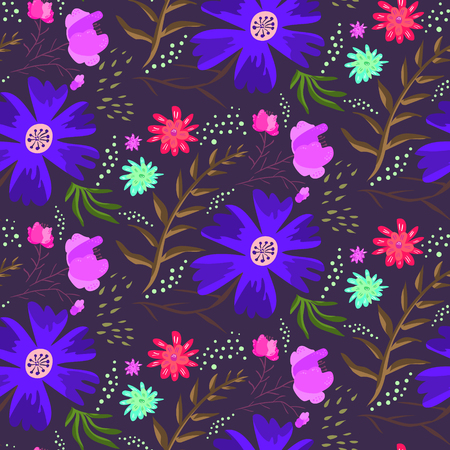 Bright blue night floral summer seamless pattern. Contrast cartoon hand drawn texture with flowers, leaves, waterdrops for textile, wrapping paper, print design, surface