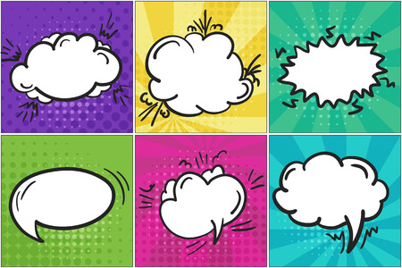 Set of colorful cartoon retro comic speech bubbles in pop art style. Bright hand drawn message balloons on stried background for comics book or advertising text, web design, banners