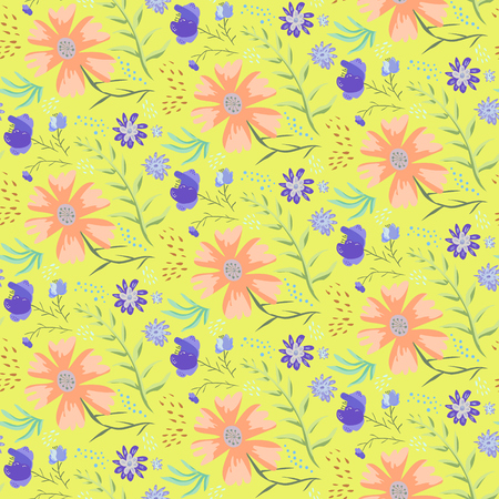 Bright yellow doodle floral seamless pattern with accent red and purple flowers. Hand drawn texture with cute blossoms, leaves, waterdrops for textile, wrapping paper, print design, wallpaper, surface