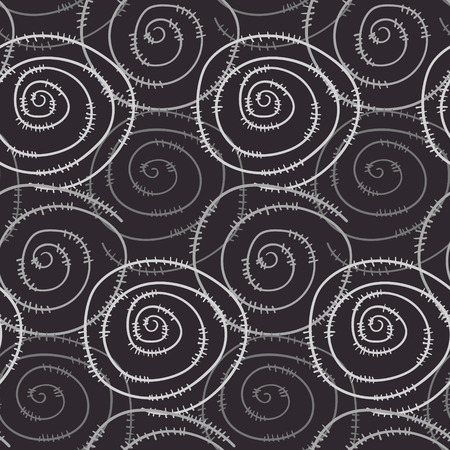 Monochrome seamless pattern with hand drawn round swirl spirals. Abstract contrast texture with spiral barbed wire for background, textile, wrapping paper, cover, surface, wallpaper