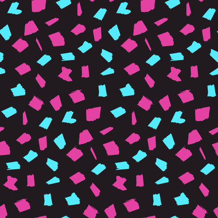 Abstract seamless pattern with pink and blue blotches on dark black background. Contrast trendy vector texture with sketch shapes for textile, wrapping paper, cover, surface, wallpaper Illustration