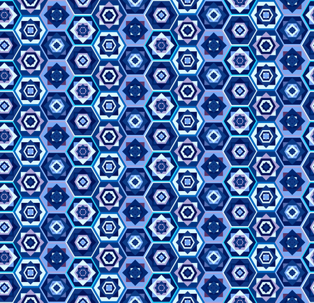 Blue geometric seamless pattern with hexagons and squares, east stile, marrakesh. Fashion carpet motif ethnic texture for textile, wallpapers, tiles, cloth, gift wrapping paper
