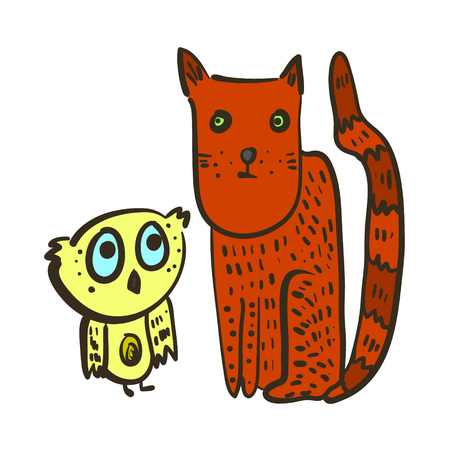 Cute illustration with confused yellow owl and red cat. Bright thoughtful characters of little owlet with big blue eyes and strict terra-cotta kitten