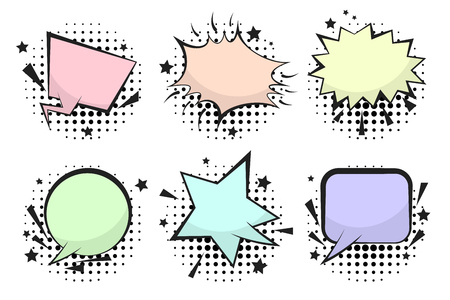 Set of funny colorful retro comic speech bubbles wit halftone shadow in pop art style. Black outline message balloons for comics book or advertising text, web and banner design Stock Photo