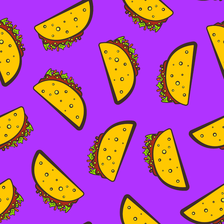 Purple seamless pattern with cute cartoon mexican taco. Comic flat pop art tacos texture for fast food textile, wrapping paper, package, restaurant or cafe menu banners Vettoriali