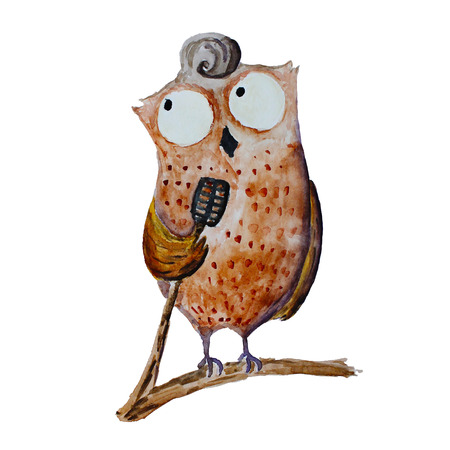 Cute brown watercolor owl standing on a tree branch and singing song in a black microphone. lovely hand drawn bird illustration