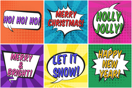 Bright colorful christmas retro speech bubbles set. Black outline color message balloons with halftone shadow and stripes in pop art style for winter holiday stickers, happy new year greeting, design