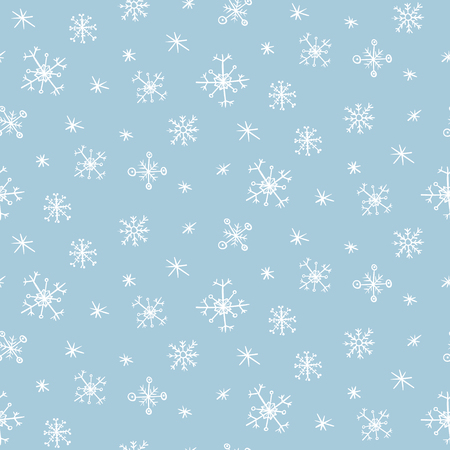Cute vector seamless pattern with hand drawn white snowflakes on light blue background. Tender winter texture for textile, wrapping paper, wallpaper, new year decor