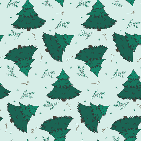 Winter seamless pattern with green fir trees, branches and twigs on light background. Cute New Year texture for textile, wrapping paper, surface, wallpaper, Christmas design  イラスト・ベクター素材