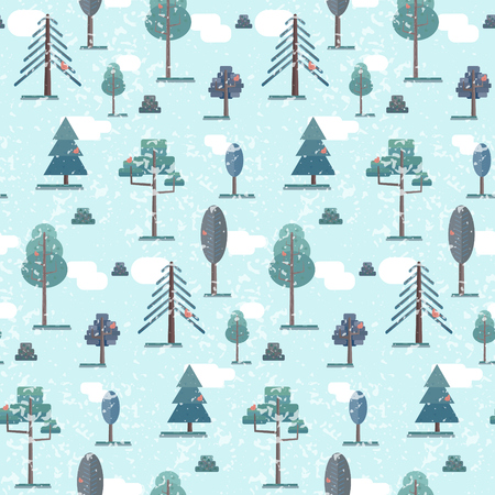 Cute flat blue winter forest seamless pattern. Tender christmas nature texture with vector trees and red birds for kids textile, wrapping paper, cover, wallpaper, new year background design  イラスト・ベクター素材