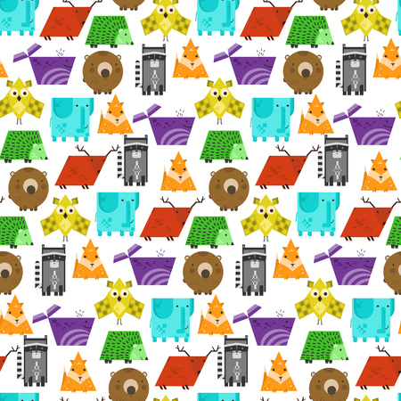 Bright kids seamless pattern with cute geometric animals. Square elephant, rectangular raccoon, triangular fox, texture for textile, wrapping paper, cover design, children cloth