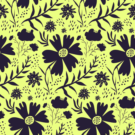 Bright monochrome contrast yellow and black floral seamless pattern. Cute cartoon texture with silhouettes of blossoms, leaves, waterdrops for textile, wrapping paper, print design, surface
