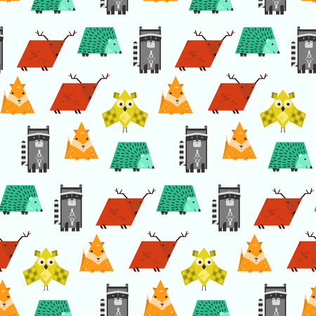 Bright kids seamless pattern with cute geometric animals. Funny fox, deer, raccoon, owl and hedgehog texture for textile, wrapping paper, cover design, children cloth