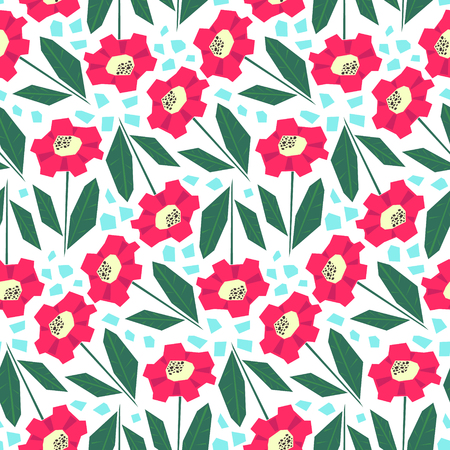 Bright seamless pattern with cute red flowers in scandinavian style. Simple nordic floral texture for textile, wrapping paper, background, package, surface design  イラスト・ベクター素材
