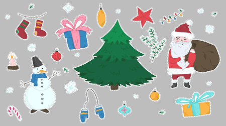 Cute big colorful stickers set of doodle Christmas elements including fir, Snowman, Santa Claus, giftboxes, mittens, stocking for new year banner design, labels, coloring books, kids apps
