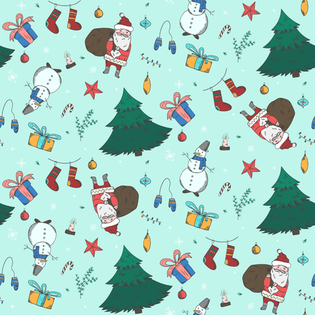Light green seamless pattern with cute colorful Christmas doodle elements. Winter New Year texture with firs, snowmen, giftbox, santa, stockings for textile, wrapping paper, wallpaper decor  イラスト・ベクター素材