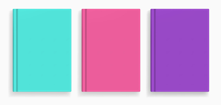 Rectangular vector blank colored realistic book cover mockups set, closed organizer or notebook cover template with sheet of A4. Front view of emerald, pink and violet notepad with binding mock up 스톡 콘텐츠