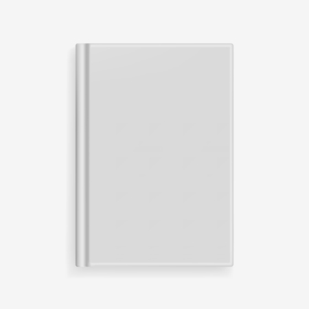 Rectangular vector blank gray realistic book cover mockup, closed organizer or notebook cover template with sheet of A4. Front view of elegant light grey notepad with binding mock up