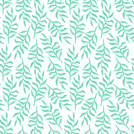 Tender watercolor seamless pattern with emerald leaves and branches on white background. Blue green botanical texture for textile, wrapping paper, print design, surface Stock Photo