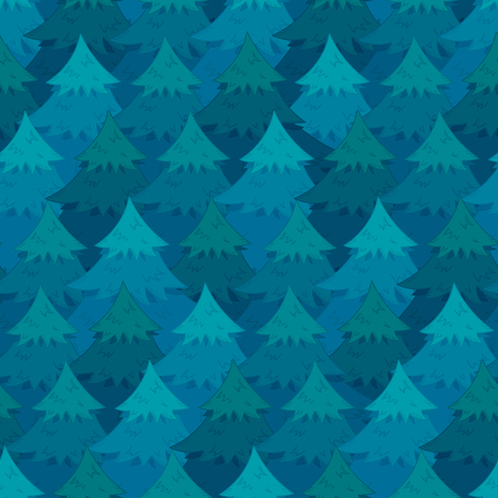 Mysterious seamless pattern with blue overlapping coniferous trees. Cute Christmas firs or pines texture for textile, wrapping paper, surface, wallpaper, New Year design