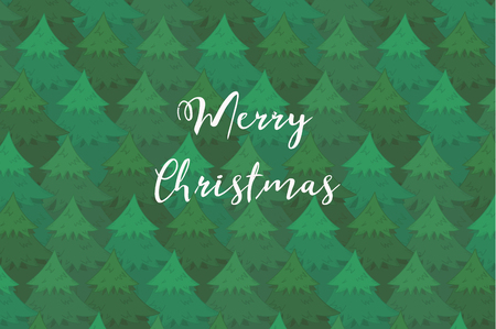 Tender horizontal background with green overlapping coniferous trees and white Merry Christmas text. Cute New Year firs or pines texture for banner, surface design, wallpaper, greeting cards