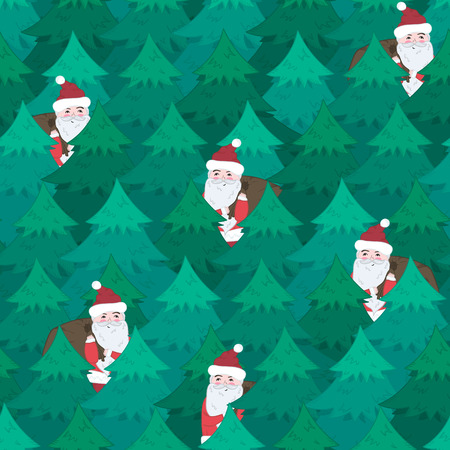 Cute Christmas seamless pattern with cheerful Santa Claus in blue green fir forest. Winter holiday illustration for New Year textile, wrapping paper, surface, wallpaper