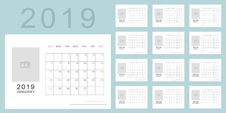 Simple minimalistic calendar of new 2019 year in light blue colors with place for photo. Week starts in Sunday, twelve month calendar. Work and holiday events planner, block-almanac template