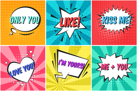 Set of cute St. Valentines colorful retro comic speech bubbles on dotted and striped backgrounds in pop art style. Bright thought balloons with LIKE, KISS ME text for lovely holiday advertisement text
