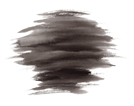 Abstract expressive striped black ink or watercolor stain. Mysterious textured inky blob isolated on white background, dark thunderous cloud concept Stock Photo