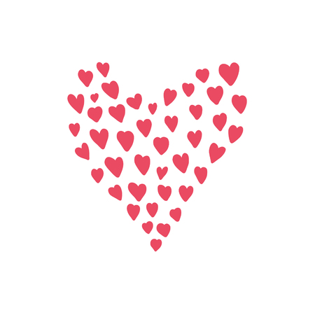 Cute hand drawn pink heart made of hearts. Bright red vector doodle love symbol for St. Valentines greeting card design, poster and banner decoration
