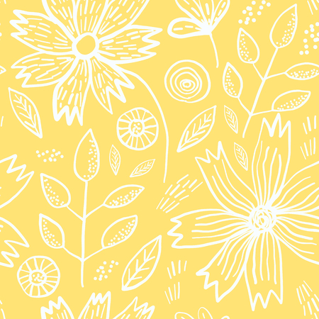 Tender yellow spring outline hand drawn floral seamless pattern. Romantic white meadow flowers, leaves and branches on pastel pale background for textile, wrapping paper, cover, surface, wallpaper Ilustração