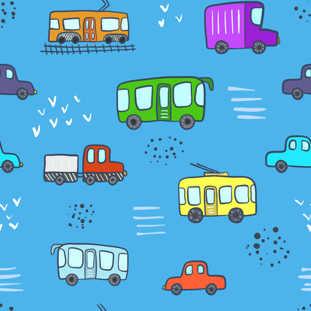 Cute blue seamless pattern with colorful cartoon doodle city transport. Bright childish texture with bus, car, cable, trolley for children textile, wrapping paper, background, package