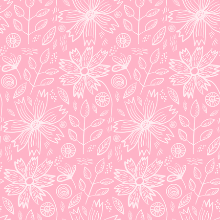 Tender pink spring outline hand drawn floral seamless pattern. Romantic white meadow flowers and leaves on pastel pale background for textile, wrapping paper, cover, surface, wallpaper