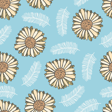 Bright summer floral seamless pattern with yellow gerbera flowers and white leaves on blue background. Trendy hand drawn plants texture for textile, wrapping paper, surface, wallpaper
