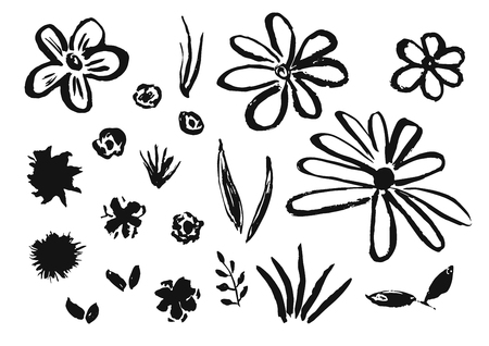 Set of hand drawn chinese ink flowers and grass. Sketch inky floral blossoms and leaves elements texture for pattern design, greeting card decoration