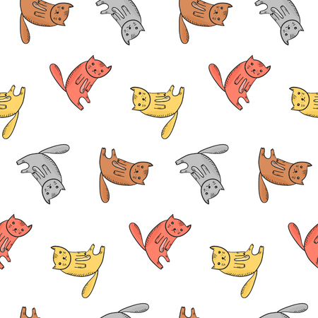 Kids seamless pattern with cute sitting colorful cats. Thoughtful doodle orange, red, gray kittens with light belly and hatching shadow texture for textile, wrapping paper, wallpaper, background