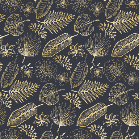 Elegant seamless pattern with outline golden tropical leaves and flowers on dark blue background. Trendy exotic plants texture for textile, wrapping paper, surface, wallpaper, background Vektoros illusztráció